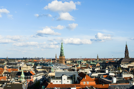 Aerial cityscape of the Rhodes from the top of the rooftops, Oresund Bridge, Sweden