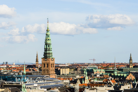Aerial cityscape of the Holy Trinity from the top of the river, Oresund Bridge