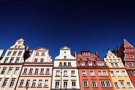 Colourful houses, blue sky, Solny square, Wroclaw, Poland. Copy space
