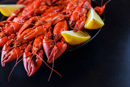 fresh hot red crawfish with lemon on dark wood table Stok Fotoğraf