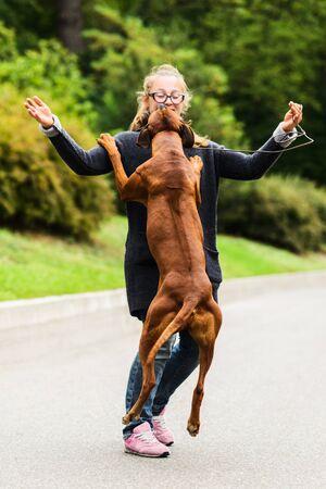 happy girl playing with her joyful dog, jumping, dancing Stock Photo