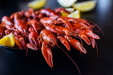 fresh hot red crawfish with lemon on dark wood table