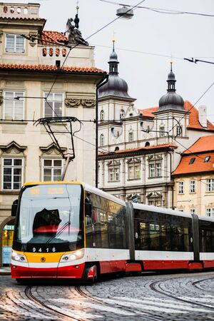 PRAGUE, CZECH REPUBLIC - October 23, 2018: Modern Skoda 15T ForCity  Alfa Praha tram 100% low-floor with a pivoting bogie, offering problem-free transport for passengers with reduced mobility, the first with a unique drive with permanent-magnet, gearless