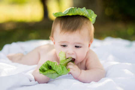 funny baby holding cabbage leaf wearing green leaf cap Standard-Bild