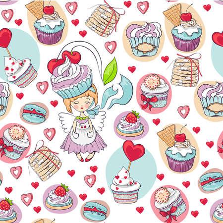 seamless cake pattern Illusztráció