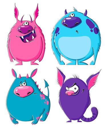 furry: Monsters Set of funny furry cartoon monsters