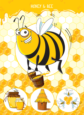 Funny bee with buckets of honey on honeycomb background