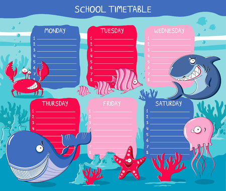 timetable: School timetable with funny sea animals
