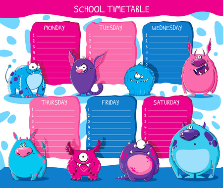 School timetable with funny furry monsters