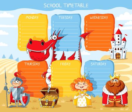 calendrier scolaire avec conte de fées dragon, chevalier, roi, princesse, château Vecteurs