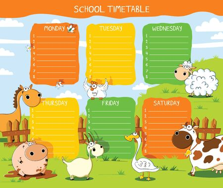 funny farm: School timetable with funny farm pets