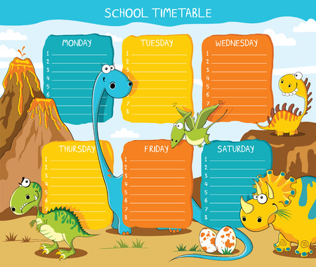 School timetable with funny dinosaurs