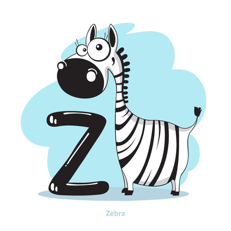 Cartoons Alphabet - Lettre Z avec Zebra drôle