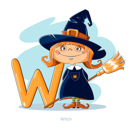 prankster: Cartoons Alphabet - Letter W with funny Witch