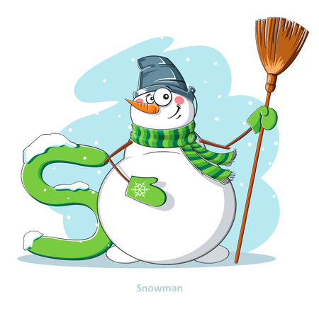 ruddy: Cartoons Alphabet - Letter S with funny Snowman