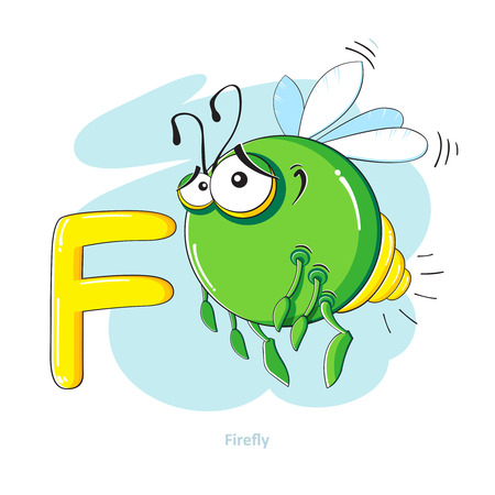 firefly: Cartoons Alphabet - Letter F with funny Firefly