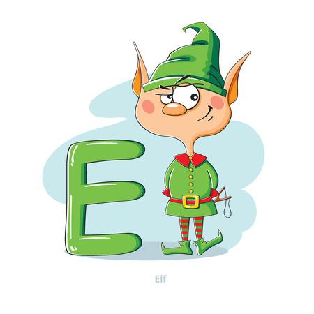 letter e: Cartoons Alphabet - Letter E with funny Elf