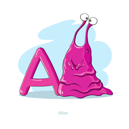Cartoons Alphabet - Letter A with funny Alien