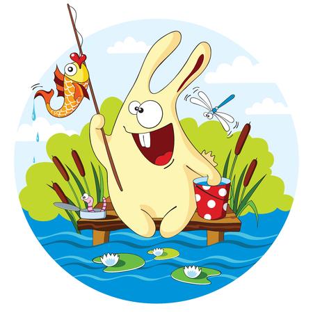 bulrush: Cartoon bunny caught a goldfish for bait