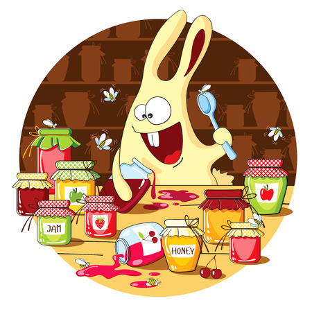 glutton: Cartoon bunny eating jam with a spoon from the jar