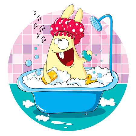 Cartoon bunny taking a bath and sing songs