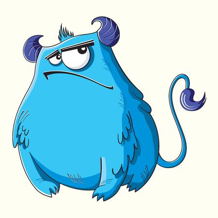 resentful: Funny cartoon fluffy blue monster