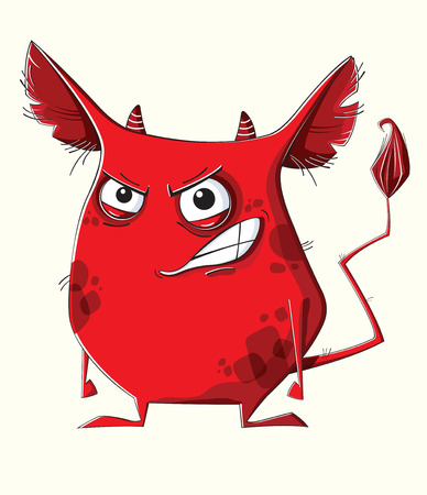 furry: Funny furry red monster on white background