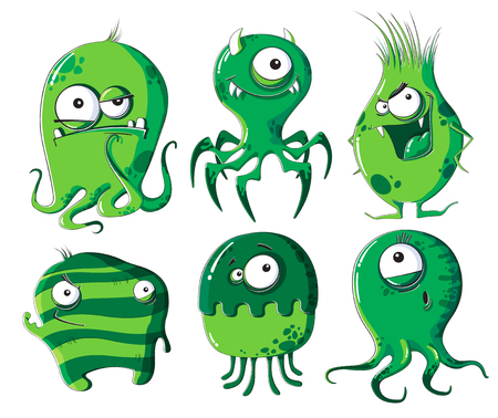 Set of six funny cartoon microbes on a white background