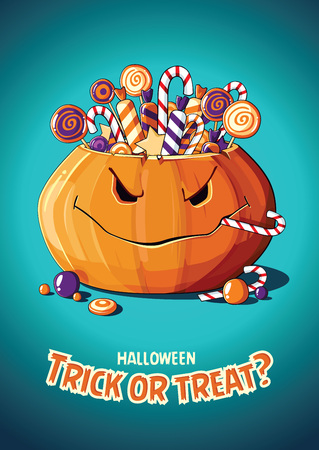 Halloween vintage vector poster with pumpkin and candy.