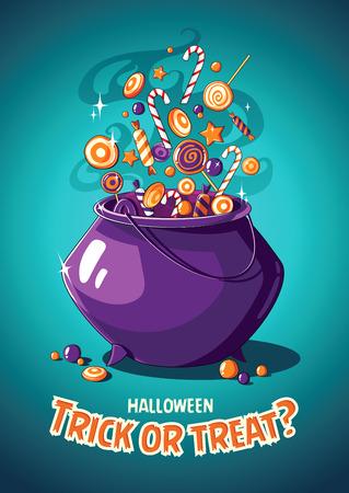 magic cauldron: Halloween vintage vector poster with magic cauldron and sweets