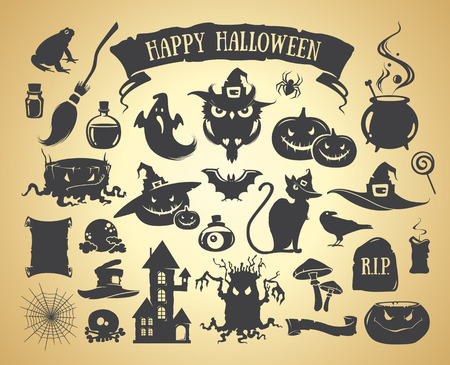 Set of Halloween elements. Vector silhouette Illustration