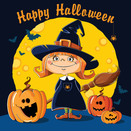 prankster: Little Witch with broom on a background of the moon Illustration