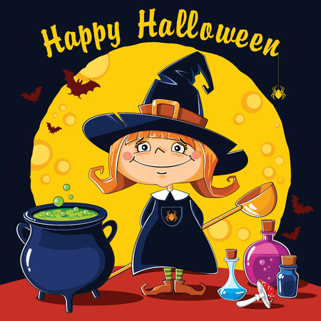 Little Witch brews a potion in a cauldron on a background of the moon
