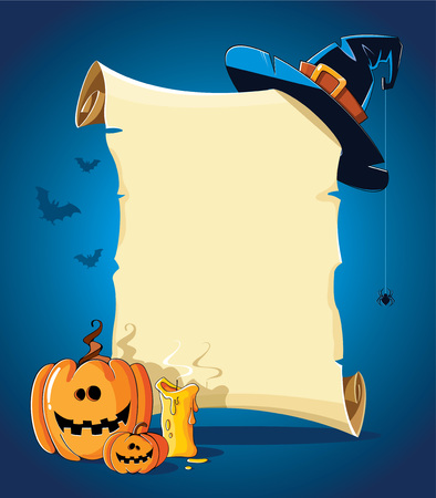 Halloween blue banner with empty paper scroll, witch hat, pumpkin and candle