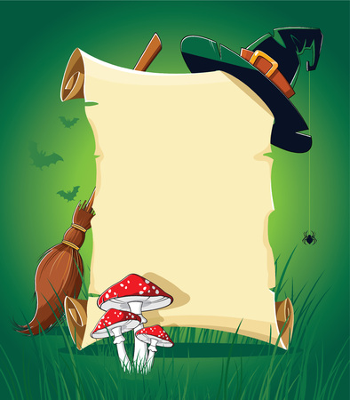 Halloween green banner with empty paper scroll, witch hat, broom and mushroom Ilustração