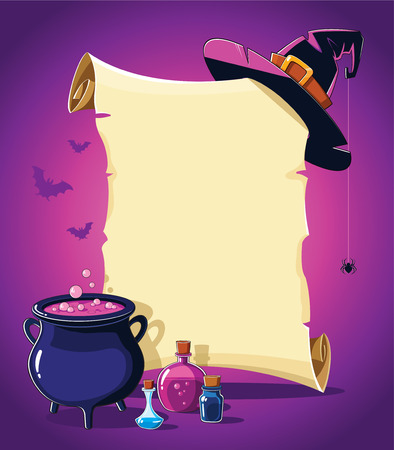 Halloween pink banner with empty paper scroll, witch hat and potion cauldron