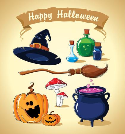 vector, illustration, cartoon Halloween set with cartoon pumpkin, witch hat, broom, potion, mushroom, cauldron