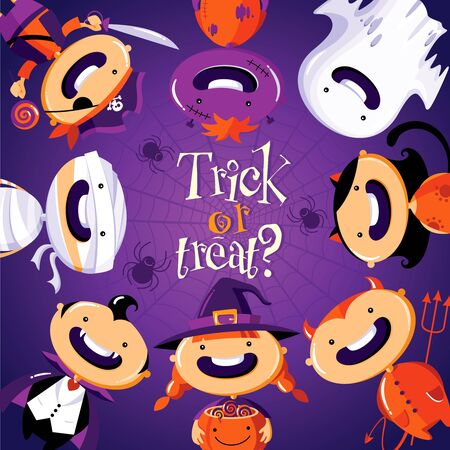 Halloween card with cute cartoon children in colorful costumes