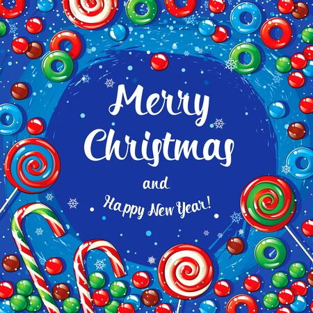 Christmas card poster banner with candies and snowflakes. Vector illustration.