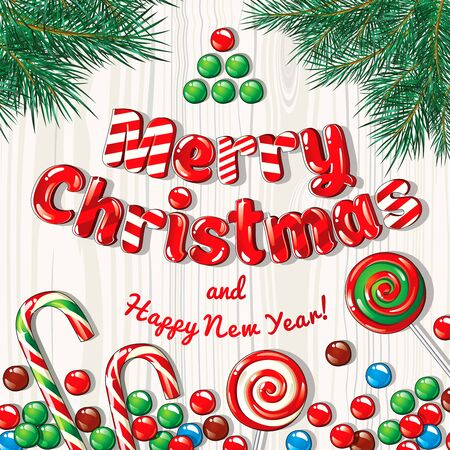 Christmas card poster banner with fir branches and candies on a wooden background. Vector illustration.