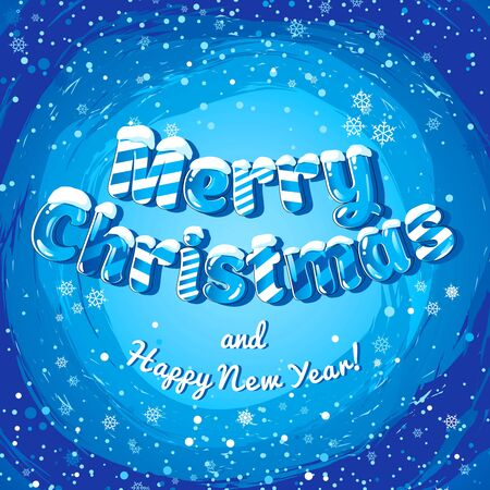 Christmas card poster banner with ice letters and snowflakes. Vector illustration. Ilustracja
