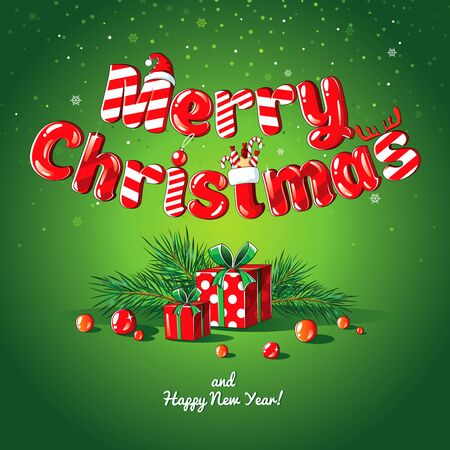 Christmas card poster banner with fir branches and gifts on a green background. Imagens - 142987453