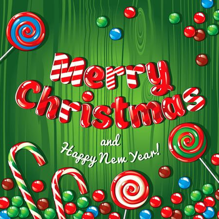 Christmas card poster banner with candies on a green wooden background. Vector illustration.