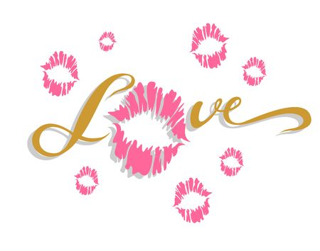 Love lettering Kiss. Valentines stylish design of the cards vector.  イラスト・ベクター素材