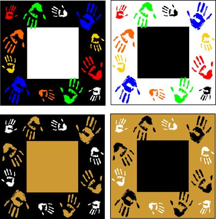 Decorative frame. The color options. Handprints of the person. Stylish design. Colorful. Vector.