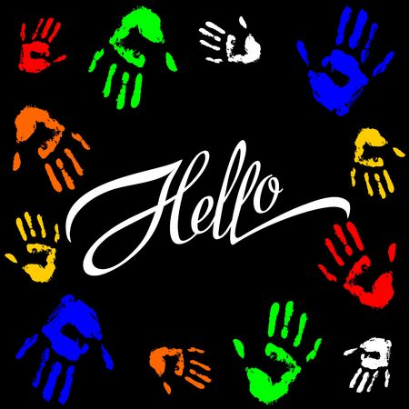 Hello lettering calligraphic inscription. The palm prints frame in colorful design for printing.  イラスト・ベクター素材