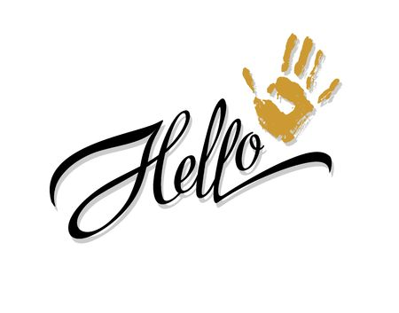 Hallo. Lettering. Calligraphic inscription. The palm print.  Design for printing. Vector.
