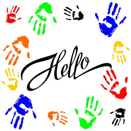 Hallo. Lettering. Calligraphic inscription. The palm prints. Frame. Colorful. Design for printing. Vector. Vettoriali