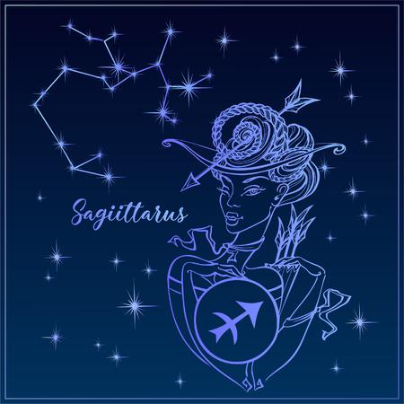 Zodiac sign Sagittarius a beautiful girl. The Constellation of Sagittarius. Night sky.  Horoscope. Astrology. Victor Иллюстрация
