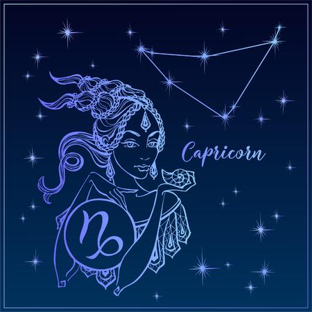 Zodiac sign Capricorn a beautiful girl. The Constellation of Capricorn. Night sky. Horoscope. Astrology. Victor